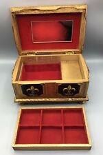 Gold Gilt Jewelry Trinket Music Box Fleur de Lis Lion Head Hollywood Regency VTG