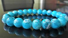 "Turquoise Gemstone bead bracelet for Men (Stretch) 10mm - 8.25"" inch Multicolor"