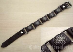 "Armband ""Lebensblume"" aus Leder - Schwarz oder Braun - Blume des Lebens"