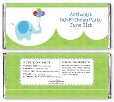 Elephant Blue Personalized Birthday Party Candy Bar Wrappers - Candy Favor