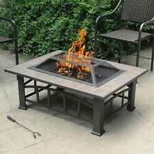 Outdoor Fire Pit Wood Burning Heater Tile Top Patio Fireplace Bowl Spark Screen