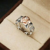 Exquisite Two Tone 925 Silver Floral 14k Rose Gold Flower Wedding Jewelry Ring