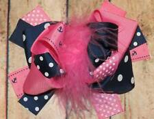 Pink Navy Anchors Nautical Feather Couture Hair Bow 6 Inch