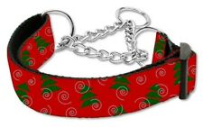 NEW Christmas Trees Nylon Martingale Dog Collar Medium Adjustable