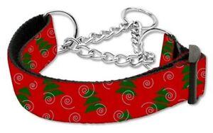 "NEW Dog Collar Medium Christmas Trees Nylon Martingale Adjustable 10"" to 18"""