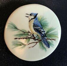 """HUGE vintage ceramic button---BLUE JAY---BIRD--STELLA RZANSKI-- 2 1/8"""""""