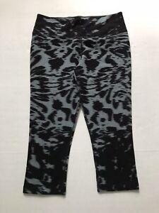 Nike Women's L Black Gray Animal Print Crop Leggings Capri Activewear Pants
