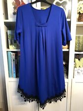 "PP60 Plus 18/20 Blue&Black Lace Hem 44""Longer Front Dress"