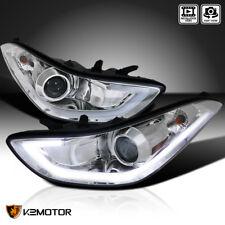 Made for 2011-2013 Elantra 4Dr Crystal LED Light Strip Projector Headlights