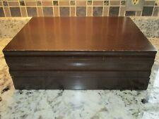 Beautiful Wood silverware flatware storage chest with drawer & Euc
