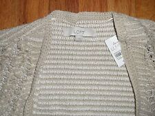 Ann Taylor Loft Spring Cream Cardigan Fringed Sweater Vest Medium Gift