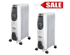 TWO (2) Pelonis Radiator Heater Electric Space AdjustableThermostat Oil Filled