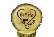 Rustic Wedding Cake Topper 3-4 inch Hearts Beautifully Engraved Wood Slice