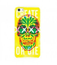 Coque Iphone 7 Iphone 8 tete de mort 13 create or die jaune vert fluo