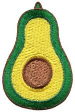 Sliced avocado fruit vegan superfood embroidered applique iron-on patch S-1510