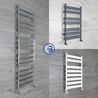 Flat Panel Designer Heated Bathroom Towel Rail Radiator - Chrome - White - Grey