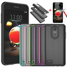 For LG Phoenix 4/Rebel 4 LTE/Fortune 2/Zone 4 Case+Glass Screen Protector Cover