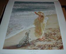 Sandra Kuck JOYFUL DISCOVERIES 20x16 art print, little girl & dalmatian at beach