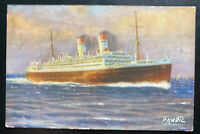 1933 Gibraltar Picture Postcard Cover to Budapest Hungary SS Giulio Cesare