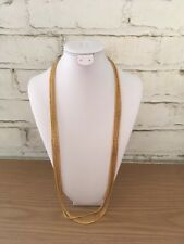 Multi strand Gold Tone Long Chain Necklace