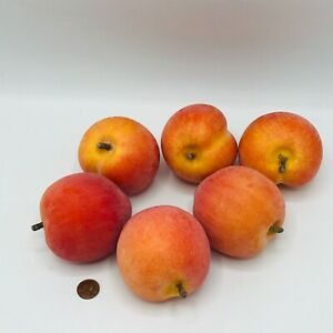 """6 Decorative Faux Fruit Peaches With Stem Fuzzy Weighted Life Size 4"""" x 4"""""""