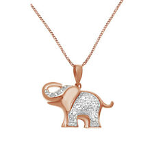 0.1 Ct Round Cut Diamond Elephant Pendant Necklace 14K Rose Gold Over