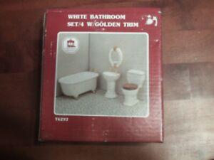 Dollhouse Miniatures White Bathroom Set w/Golden Trim