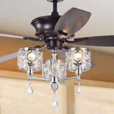 Tibedo 5-Blade 52-Inch Dark Brown Ceiling Fan With 3-Light Crystal And Chrome