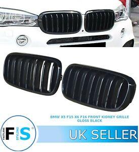 BMW X5 F15 X5M F85 X6 F16 X6M F86 FRONT KIDNEY BUMPER GRILLES GLOSS BLACK OEMFIT