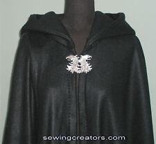 Black Fleece Cape Handmade Winter Wedding Medieval Cloak Wicca By SewingCreators