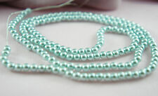 *180pcs Beads 4mm Sky Blue Color Faux Imitation Plastic Round Pearl Beads*