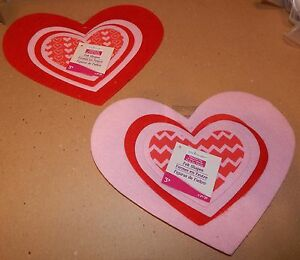 "Valentine's Day Creatology Craft Felt Hearts Shapes 8pc 10""x 8"" & Smaller 65G"