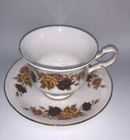 Queen Anne Fine Bone China Made In England Cup & Saucer Floral Autumn colors