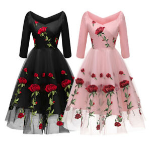 Women Rose Flower Embroidery Dress Lace Party V-Neck Wedding Prom Gown Cocktail