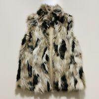 Zara Kids Cream Brown Multi Color Print Faux Fur Vest Sz Large Fuzzy EUC