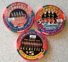 $5 Las Vegas Flamingo Hilton Rocketttes Chip Set of 3 - NM