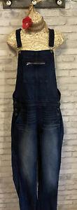 AEO American Eagle Distressed Dark Wash Straight/ Skinny Leg Overalls Jumpsuit M
