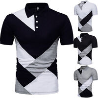 Mens Slim Fit Polo Shirts Short Sleeve Geometric Golf Tops Blouse Jersey T-Shirt