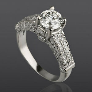 VS1 14 KT WHITE GOLD DIAMOND RING ROUND 2.07 CT WOMENS 4 PRONG AUTHENTIC
