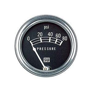 Stewart Warner 82208 Std 2-1/16 In. Oil Pressure Gauge, Mech, 0-80 PSI