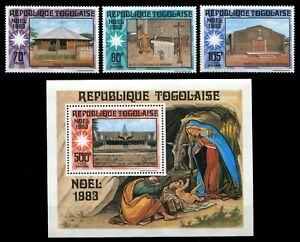 Togo 1983 - Mi-Nr. 1652-1654 & Block 202 ** - MNH - Weihnachten / X-mas