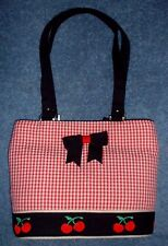 KW Braciano Small Red Seersucker Cherry Tote Purse Bag ~ Brand New!