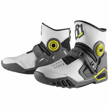 Icon Accelerant Street Motorcycle Boots White Grey Yellow Size 10 US