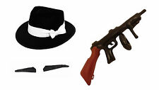 Childs Gangster Hat Spiv Moustache Inflatable Tommy Gun Bugsy Malone School Play