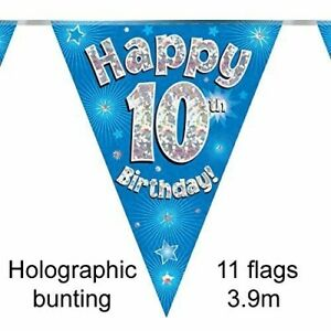 Happy 10th Birthday Holographic Triangular Party Foil Banner Bunting - 10 Blue