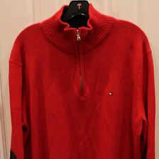 Tommy Hilfiger Mens Pullover Lux Cotton Sz L Half Zip Red Elbow Patches Sweater