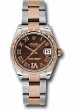 Rolex 31mm Datejust Steel & 18k Rose Gold & Diamond Watch & Box 178341