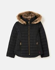 Joules Girls 213234 Padded Coat With Fur Collar - Marine Navy