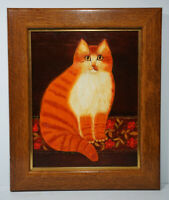 Original Oil Painting of A Cat/ Kitten Signed Framed Landscape