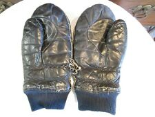 Vintage Grandoe Snowmobile Mittens Winter Ski Insulated Blue Leather Size M